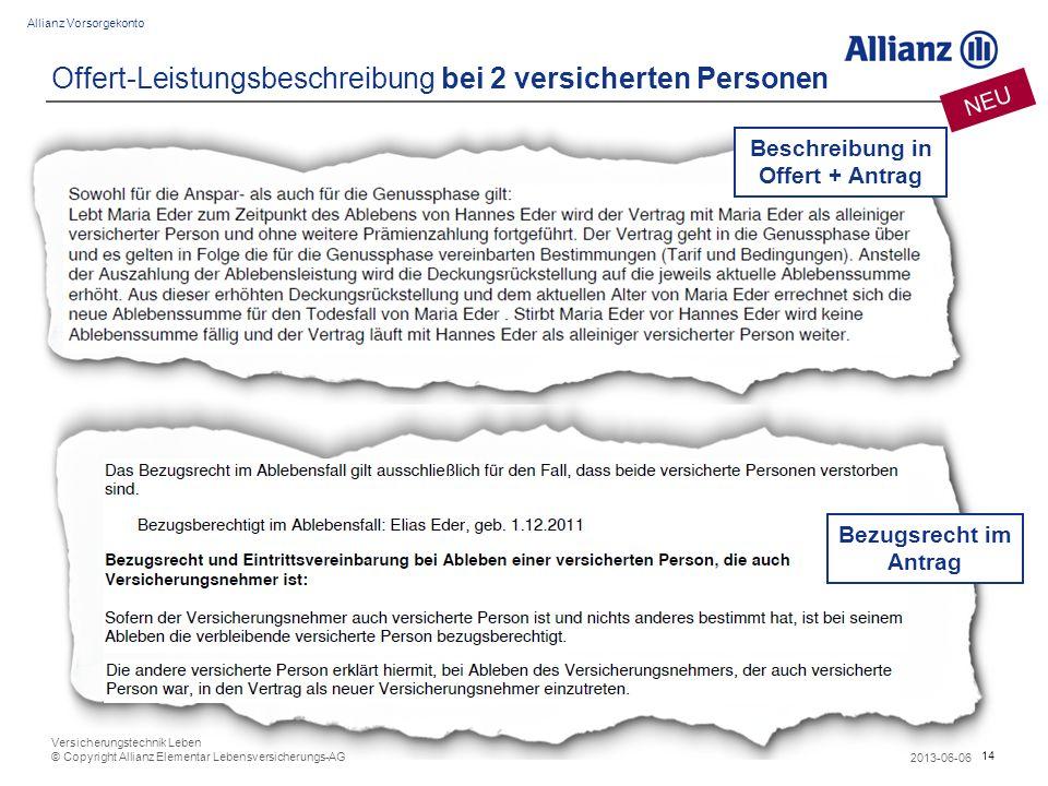 14 Allianz Vorsorgekonto 2013-06-06 Versicherungstechnik Leben © Copyright Allianz Elementar Lebensversicherungs-AG Offert-Leistungsbeschreibung bei 2