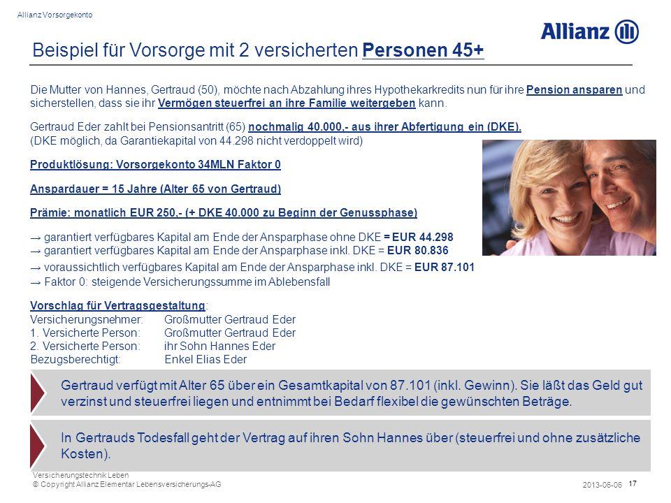 17 Allianz Vorsorgekonto 2013-06-06 Versicherungstechnik Leben © Copyright Allianz Elementar Lebensversicherungs-AG Beispiel für Vorsorge mit 2 versic
