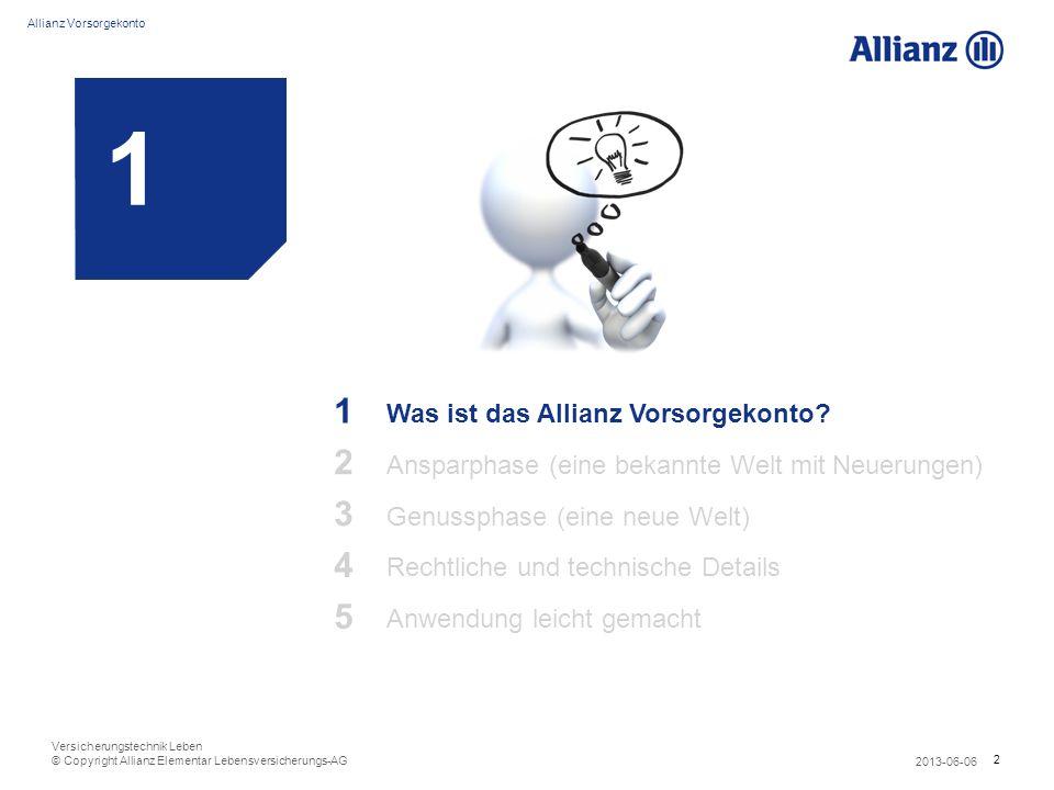 2 Allianz Vorsorgekonto 2013-06-06 Versicherungstechnik Leben © Copyright Allianz Elementar Lebensversicherungs-AG 1 1 Was ist das Allianz Vorsorgekon