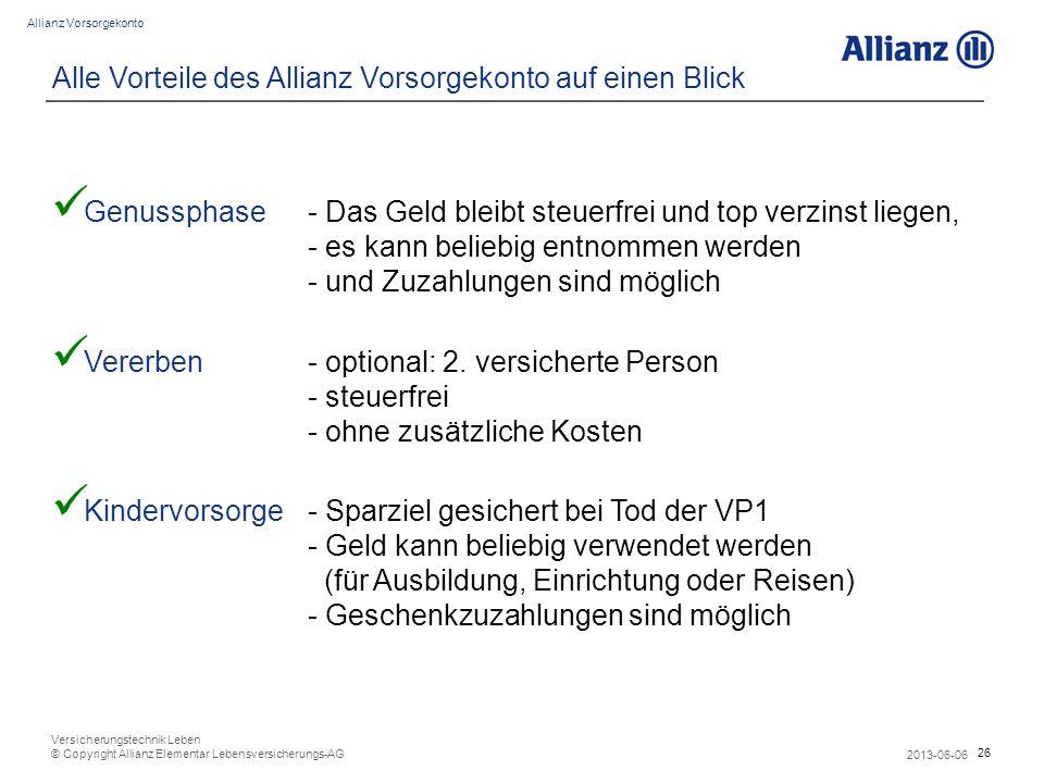 26 Allianz Vorsorgekonto 2013-06-06 Versicherungstechnik Leben © Copyright Allianz Elementar Lebensversicherungs-AG Alle Vorteile des Allianz Vorsorge
