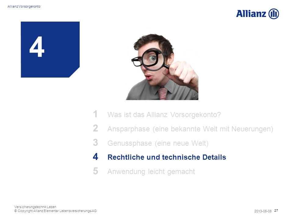 27 Allianz Vorsorgekonto 2013-06-06 Versicherungstechnik Leben © Copyright Allianz Elementar Lebensversicherungs-AG 4 1 Was ist das Allianz Vorsorgeko