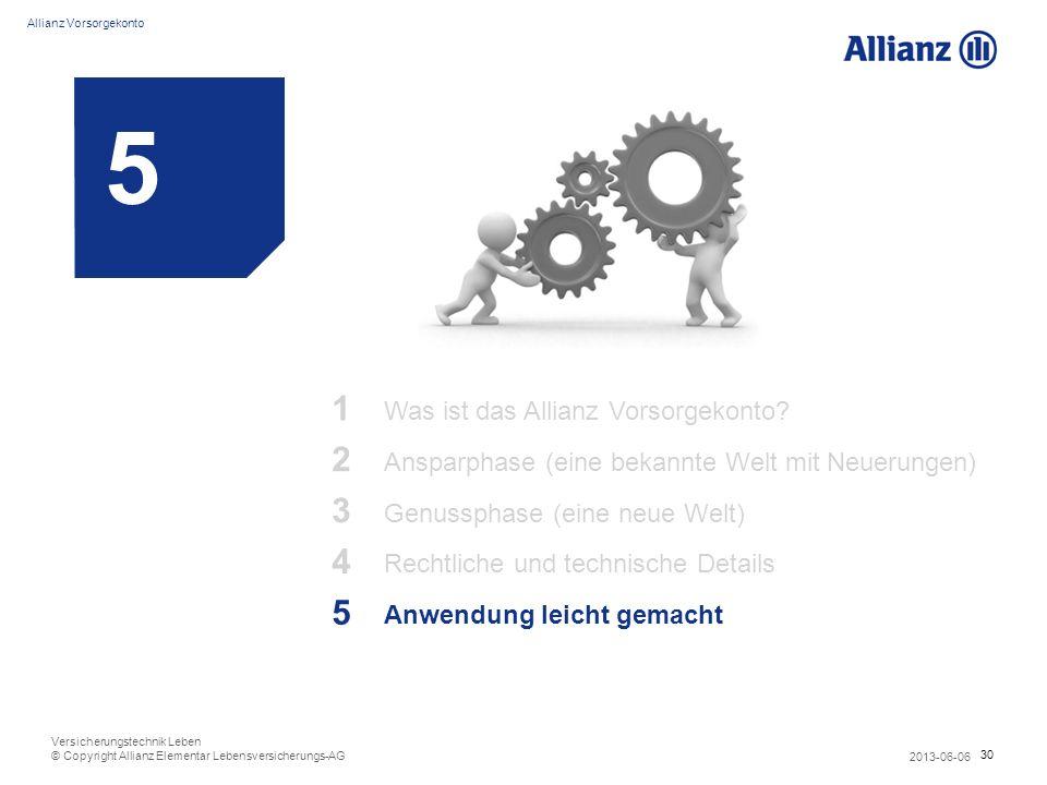 30 Allianz Vorsorgekonto 2013-06-06 Versicherungstechnik Leben © Copyright Allianz Elementar Lebensversicherungs-AG 5 1 Was ist das Allianz Vorsorgeko