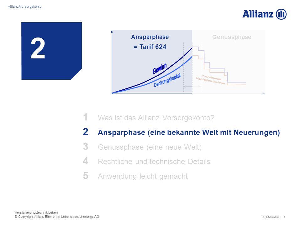8 Allianz Vorsorgekonto 2013-06-06 Versicherungstechnik Leben © Copyright Allianz Elementar Lebensversicherungs-AG Allianz Vorsorgekonto: 1 Produkt – 2 Phasen z.B.