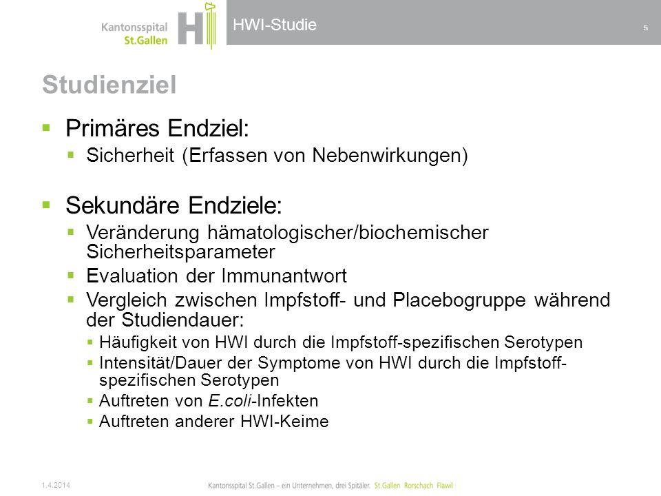 HWI-Studie Studienziel Primäres Endziel: Sicherheit (Erfassen von Nebenwirkungen) Sekundäre Endziele: Veränderung hämatologischer/biochemischer Sicher