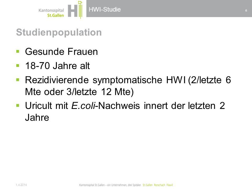 HWI-Studie Studienpopulation Gesunde Frauen 18-70 Jahre alt Rezidivierende symptomatische HWI (2/letzte 6 Mte oder 3/letzte 12 Mte) Uricult mit E.coli