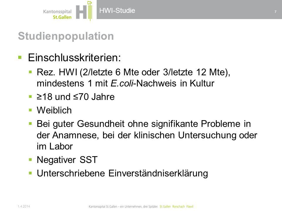 HWI-Studie Studienpopulation Einschlusskriterien: Rez. HWI (2/letzte 6 Mte oder 3/letzte 12 Mte), mindestens 1 mit E.coli-Nachweis in Kultur 18 und 70