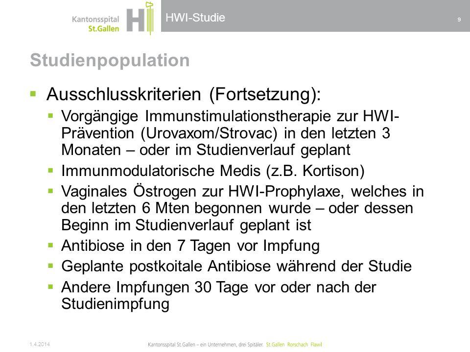 HWI-Studie Studienpopulation Ausschlusskriterien (Fortsetzung): Vorgängige Immunstimulationstherapie zur HWI- Prävention (Urovaxom/Strovac) in den let
