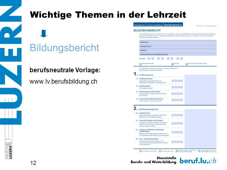 12 Bildungsbericht berufsneutrale Vorlage: www.lv.berufsbildung.ch Wichtige Themen in der Lehrzeit