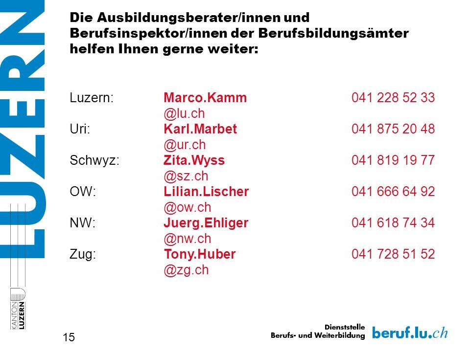 15 Die Ausbildungsberater/innen und Berufsinspektor/innen der Berufsbildungsämter helfen Ihnen gerne weiter: Luzern:Marco.Kamm041 228 52 33 @lu.ch Uri