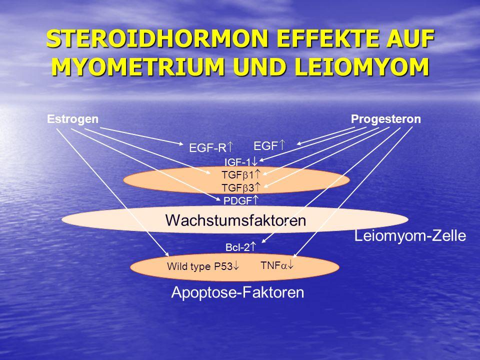 STEROIDHORMON EFFEKTE AUF MYOMETRIUM UND LEIOMYOM Estrogen Leiomyom-Zelle Progesteron EGF-R EGF IGF-1 TGF 1 TGF 3 PDGF Wild type P53 TNF Bcl-2 Wachstu