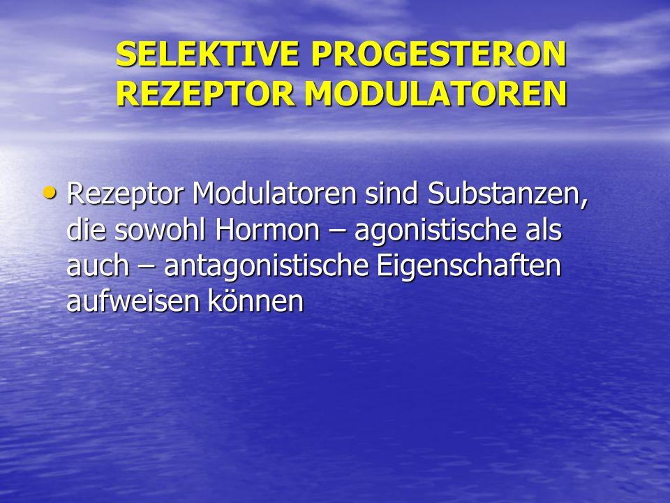 SELEKTIVE PROGESTERON REZEPTOR MODULATOREN Rezeptor Modulatoren sind Substanzen, die sowohl Hormon – agonistische als auch – antagonistische Eigenscha