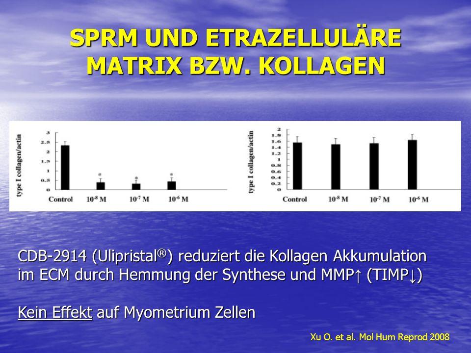 SPRM UND ETRAZELLULÄRE MATRIX BZW. KOLLAGEN Xu O. et al. Mol Hum Reprod 2008 CDB-2914 (Ulipristal ® ) reduziert die Kollagen Akkumulation im ECM durch