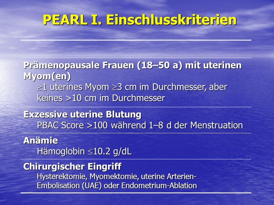 PEARL I. Einschlusskriterien Prämenopausale Frauen (18–50 a) mit uterinen Myom(en) 1 uterines Myom 3 cm im Durchmesser, aber keines >10 cm im Durchmes