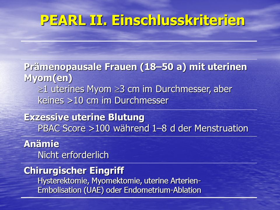PEARL II. Einschlusskriterien Prämenopausale Frauen (18–50 a) mit uterinen Myom(en) 1 uterines Myom 3 cm im Durchmesser, aber keines >10 cm im Durchme