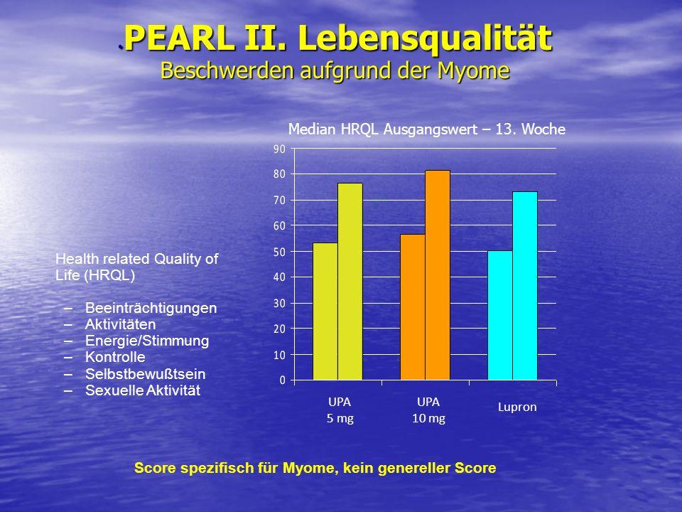PEARL II. Lebensqualität Beschwerden aufgrund der Myome PEARL II. Lebensqualität Beschwerden aufgrund der Myome Health related Quality of Life (HRQL)