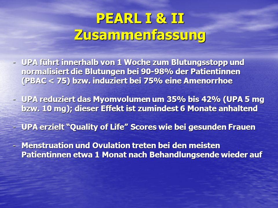-UPA führt innerhalb von 1 Woche zum Blutungsstopp und normalisiert die Blutungen bei 90-98% der Patientinnen (PBAC < 75) bzw. induziert bei 75% eine