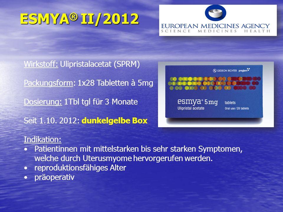ESMYA ® II/2012 Wirkstoff: Ulipristalacetat (SPRM) Packungsform: 1x28 Tabletten à 5mg Dosierung: 1Tbl tgl für 3 Monate Seit 1.10. 2012: dunkelgelbe Bo