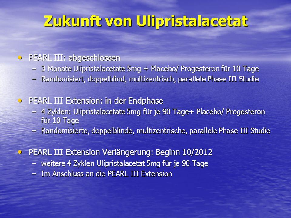 Zukunft von Ulipristalacetat PEARL III: abgeschlossen PEARL III: abgeschlossen –3 Monate Ulipristalacetate 5mg + Placebo/ Progesteron für 10 Tage –Ran