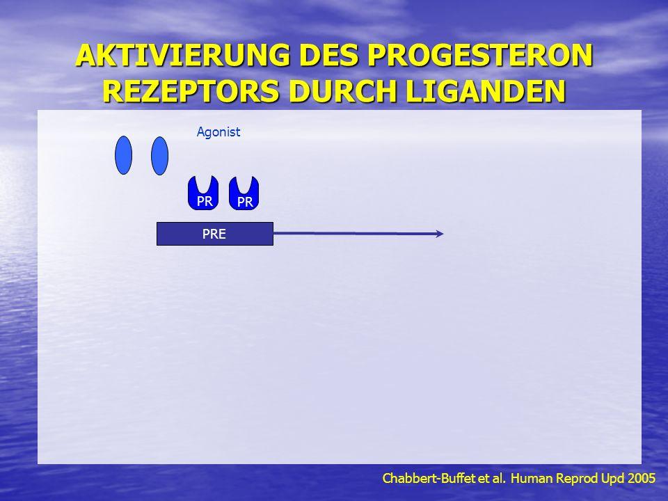 AKTIVIERUNG DES PROGESTERON REZEPTORS DURCH LIGANDEN Chabbert-Buffet et al. Human Reprod Upd 2005 Agonist PR PRE