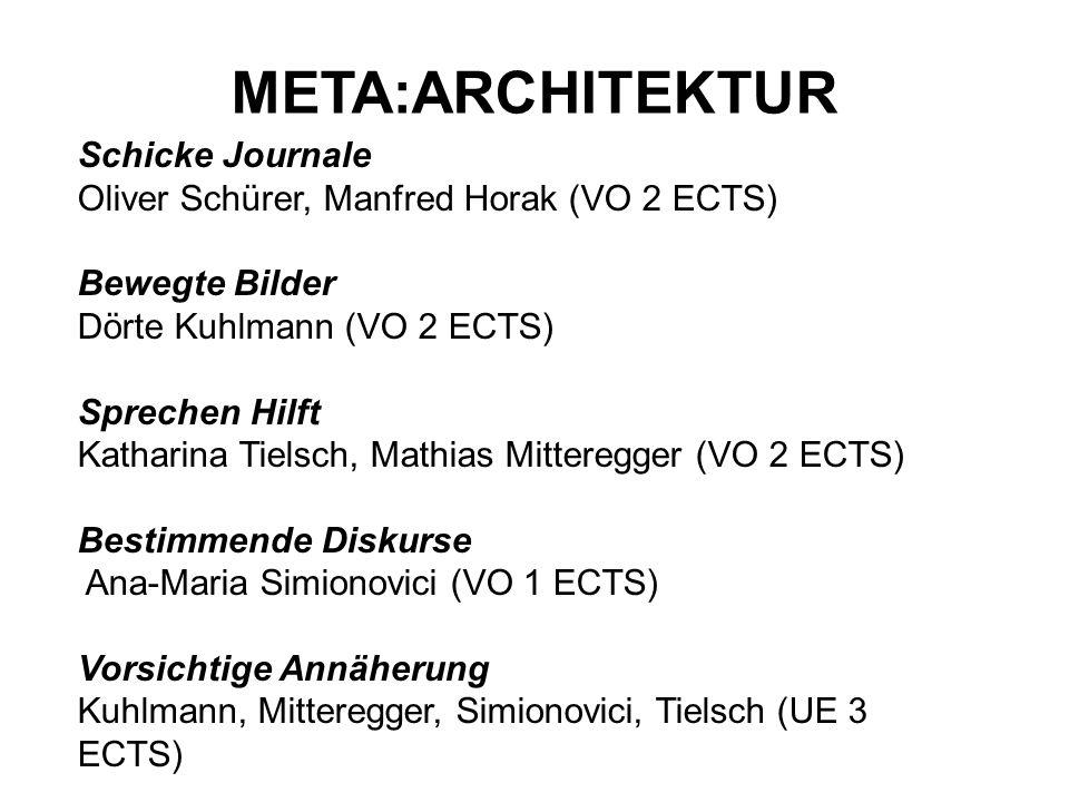 Schicke Journale Oliver Schürer, Manfred Horak (VO 2 ECTS) Bewegte Bilder Dörte Kuhlmann (VO 2 ECTS) Sprechen Hilft Katharina Tielsch, Mathias Mittere