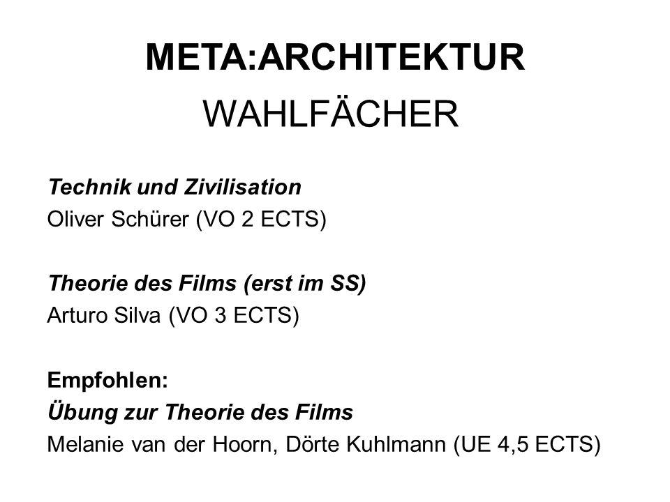 Technik und Zivilisation Oliver Schürer (VO 2 ECTS) Theorie des Films (erst im SS) Arturo Silva (VO 3 ECTS) Empfohlen: Übung zur Theorie des Films Mel