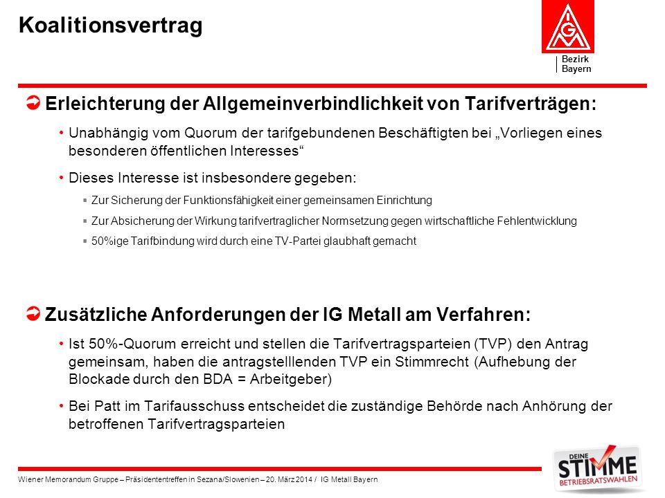 Bezirk Bayern Wiener Memorandum Gruppe – Präsidententreffen in Sezana/Slowenien – 20. März 2014 / IG Metall Bayern Koalitionsvertrag Erleichterung der