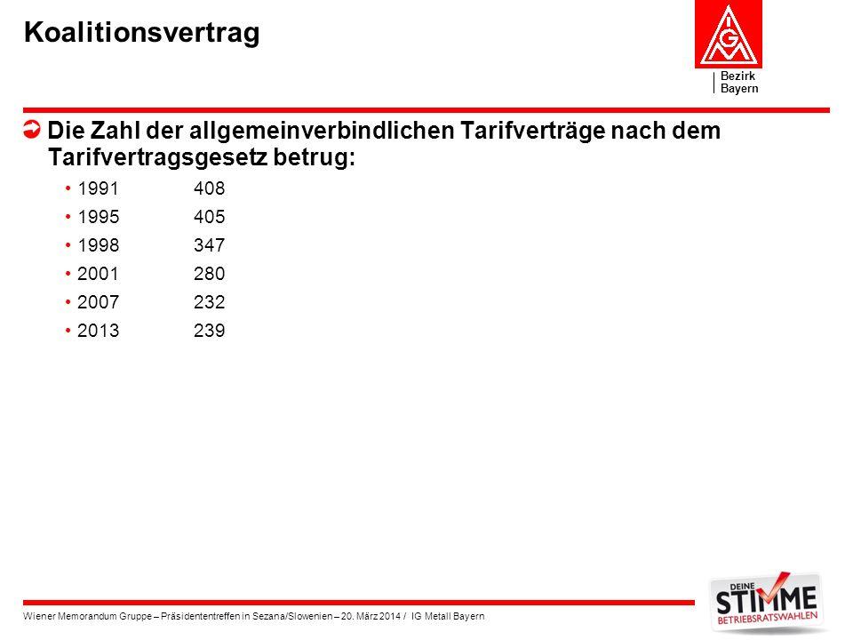 Bezirk Bayern Wiener Memorandum Gruppe – Präsidententreffen in Sezana/Slowenien – 20. März 2014 / IG Metall Bayern Koalitionsvertrag Die Zahl der allg