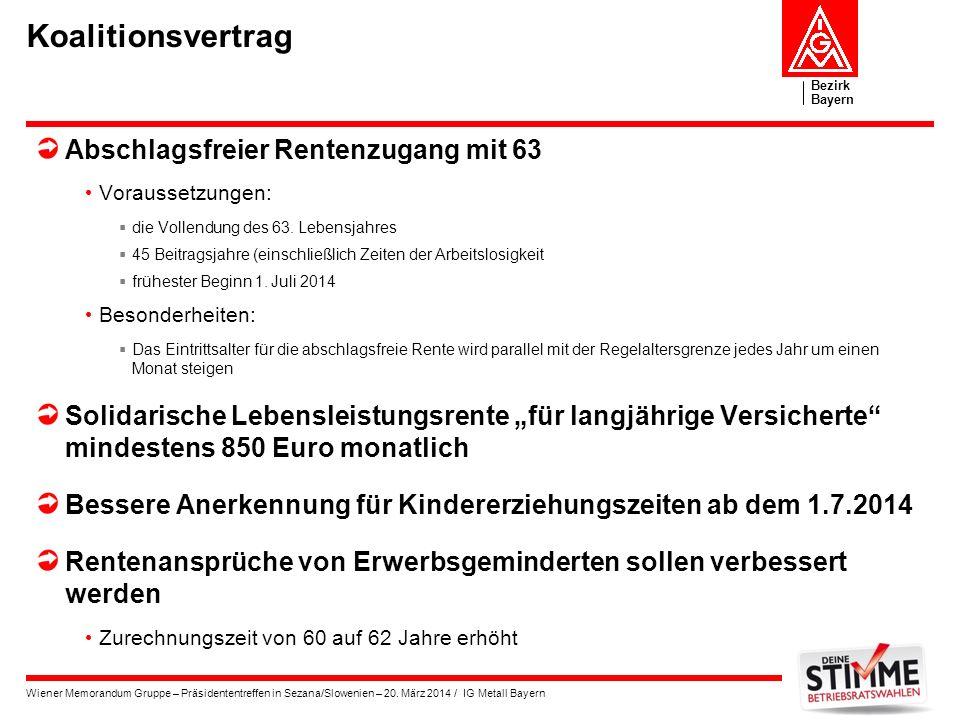 Bezirk Bayern Wiener Memorandum Gruppe – Präsidententreffen in Sezana/Slowenien – 20. März 2014 / IG Metall Bayern Koalitionsvertrag Abschlagsfreier R