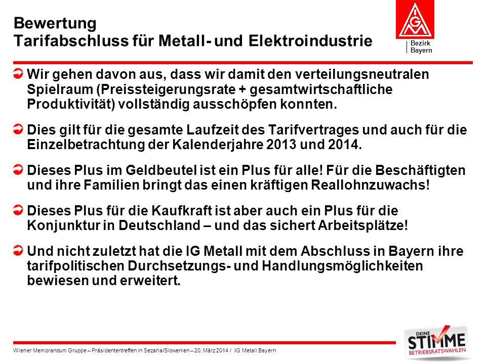 Bezirk Bayern Wiener Memorandum Gruppe – Präsidententreffen in Sezana/Slowenien – 20. März 2014 / IG Metall Bayern Bewertung Tarifabschluss für Metall