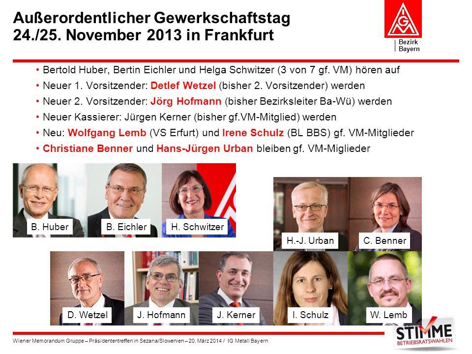 Bezirk Bayern Wiener Memorandum Gruppe – Präsidententreffen in Sezana/Slowenien – 20. März 2014 / IG Metall Bayern Außerordentlicher Gewerkschaftstag