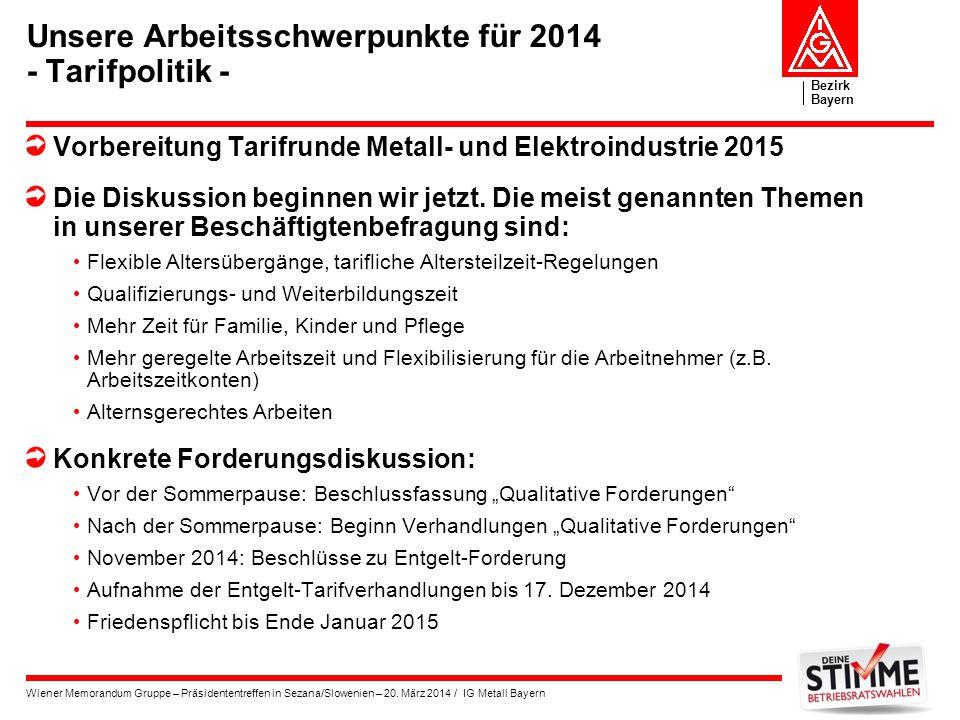 Bezirk Bayern Wiener Memorandum Gruppe – Präsidententreffen in Sezana/Slowenien – 20. März 2014 / IG Metall Bayern Unsere Arbeitsschwerpunkte für 2014