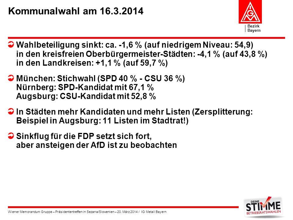Bezirk Bayern Wiener Memorandum Gruppe – Präsidententreffen in Sezana/Slowenien – 20. März 2014 / IG Metall Bayern Kommunalwahl am 16.3.2014 Wahlbetei