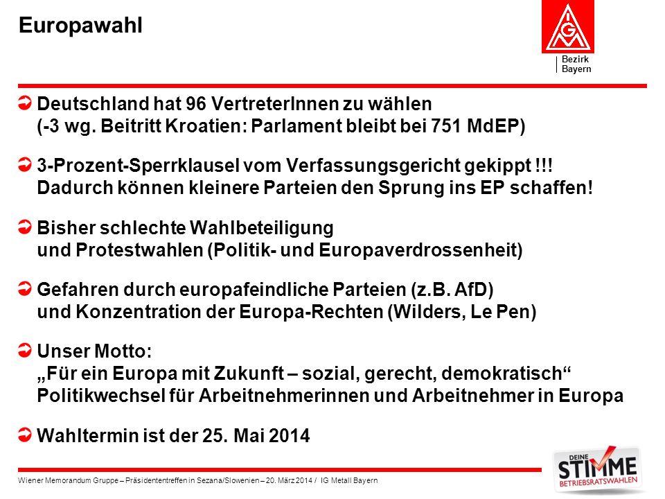 Bezirk Bayern Wiener Memorandum Gruppe – Präsidententreffen in Sezana/Slowenien – 20. März 2014 / IG Metall Bayern Europawahl Deutschland hat 96 Vertr