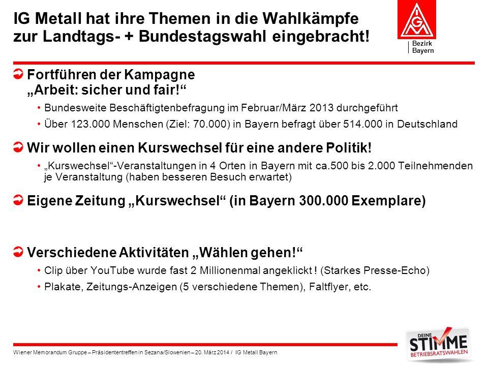Bezirk Bayern Wiener Memorandum Gruppe – Präsidententreffen in Sezana/Slowenien – 20. März 2014 / IG Metall Bayern IG Metall hat ihre Themen in die Wa