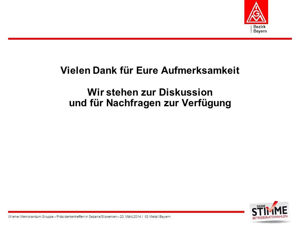 Bezirk Bayern Wiener Memorandum Gruppe – Präsidententreffen in Sezana/Slowenien – 20. März 2014 / IG Metall Bayern Vielen Dank für Eure Aufmerksamkeit