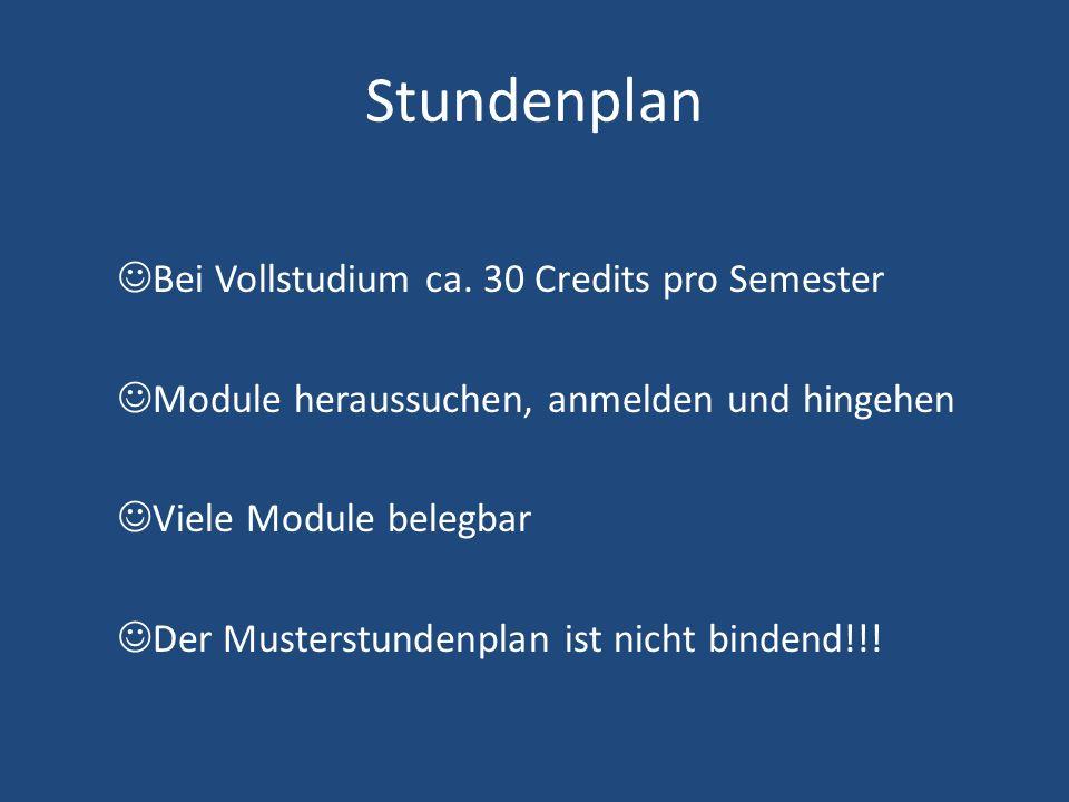 Stundenplan Bei Vollstudium ca. 30 Credits pro Semester Module heraussuchen, anmelden und hingehen Viele Module belegbar Der Musterstundenplan ist nic