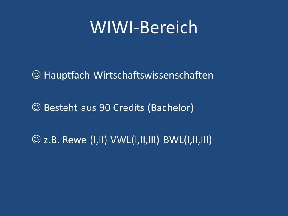 WIWI-Bereich Hauptfach Wirtschaftswissenschaften Besteht aus 90 Credits (Bachelor) z.B. Rewe (I,II) VWL(I,II,III) BWL(I,II,III)