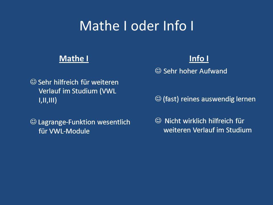 Mathe I oder Info I Mathe I Sehr hilfreich für weiteren Verlauf im Studium (VWL I,II,III) Lagrange-Funktion wesentlich für VWL-Module Info I Sehr hoher Aufwand (fast) reines auswendig lernen Nicht wirklich hilfreich für weiteren Verlauf im Studium