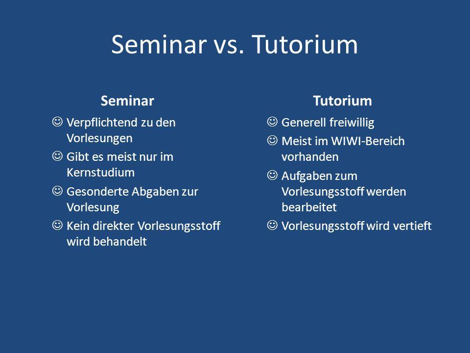 Seminar vs. Tutorium Seminar Verpflichtend zu den Vorlesungen Gibt es meist nur im Kernstudium Gesonderte Abgaben zur Vorlesung Kein direkter Vorlesun