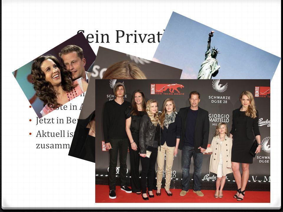 Sein Privatleben Seit 1995 war er mit dem amerikanischen Ex-Model Dana Carlson verheiratet, mit der er vier Kinder hat. (geschieden) Er lebte in Ameri