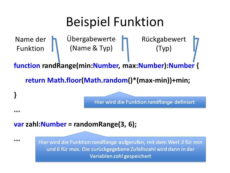 Beispiel Funktion function randRange(min:Number, max:Number):Number { return Math.floor(Math.random()*(max-min))+min; }...