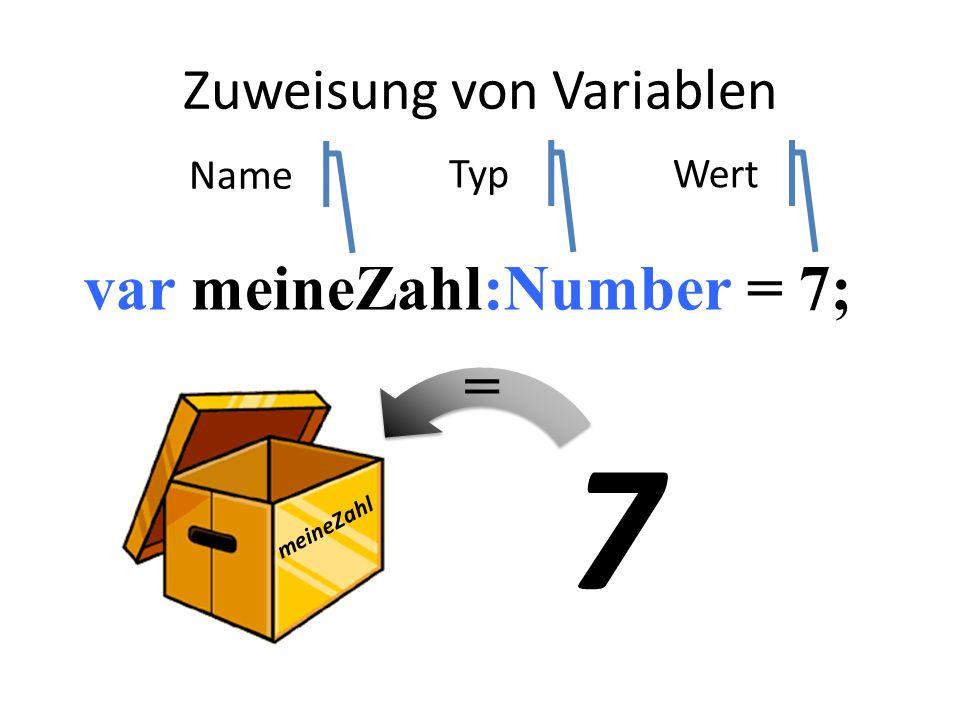 var meineZahl:Number = 7; meineZahl 7 Name TypWert = Zuweisung von Variablen