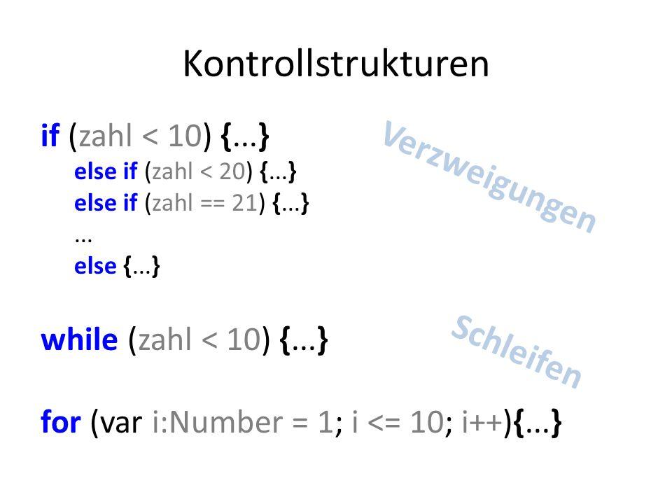 Beispiel Organisation var size:Number = 100; moveTo(0, 0) lineTo(size, size) moveTo(0, size) lineTo(size, 0)