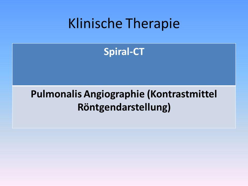 Klinische Therapie Spiral-CT Pulmonalis Angiographie (Kontrastmittel Röntgendarstellung)