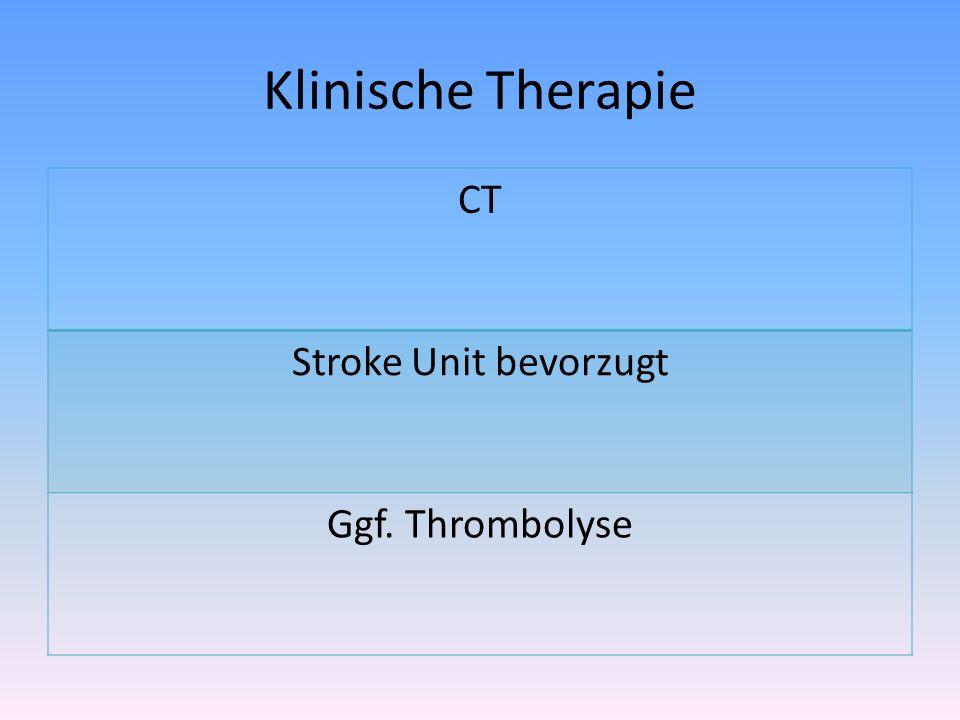Klinische Therapie CT Stroke Unit bevorzugt Ggf. Thrombolyse