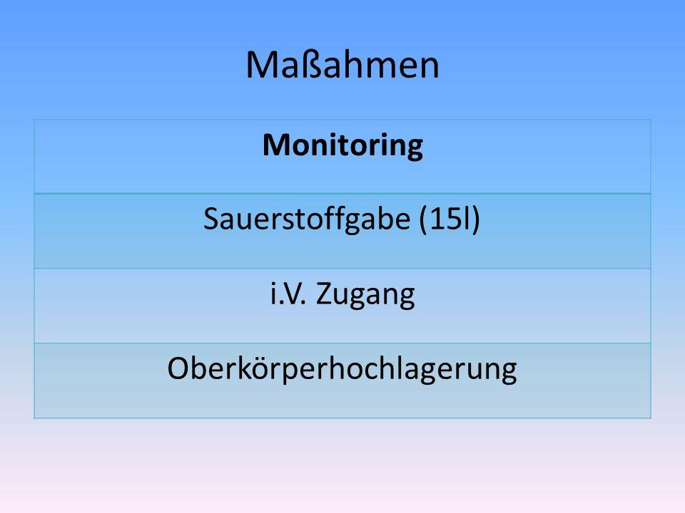 Maßahmen Monitoring Sauerstoffgabe (15l) i.V. Zugang Oberkörperhochlagerung