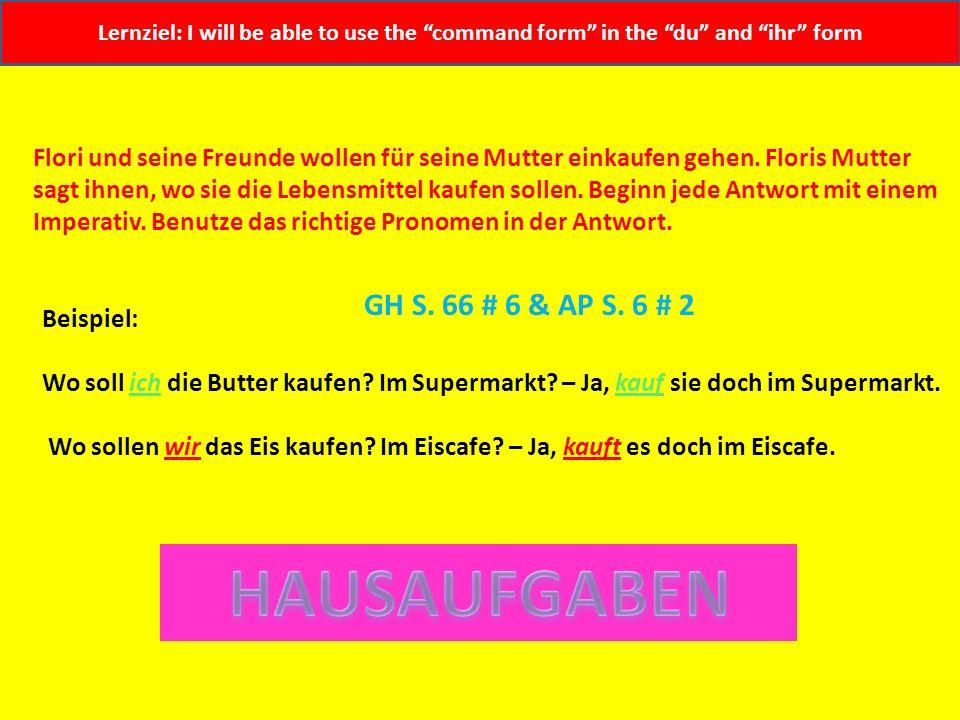 Lernziel: I will be able to use the command form in the du and ihr form 1. Wo soll ich den Fisch kaufen? Im Fischladen? 2. Wo sollen wir das Obst kauf