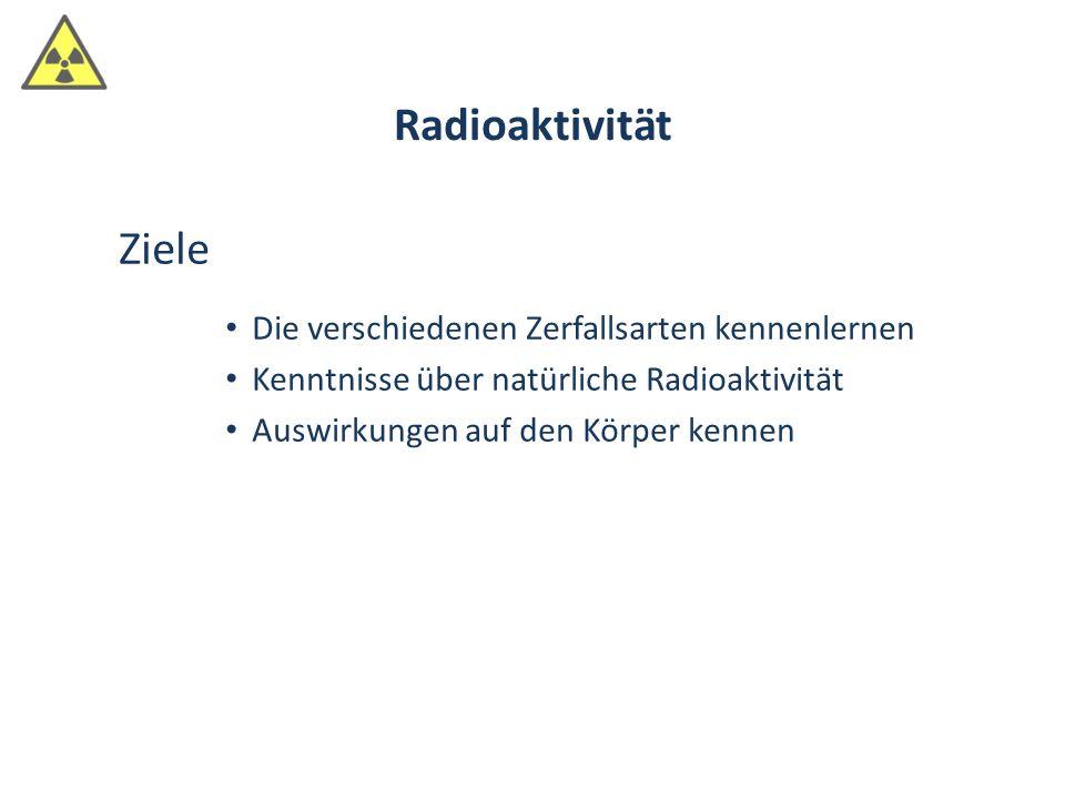 Ziele Die verschiedenen Zerfallsarten kennenlernen Kenntnisse über natürliche Radioaktivität Auswirkungen auf den Körper kennen