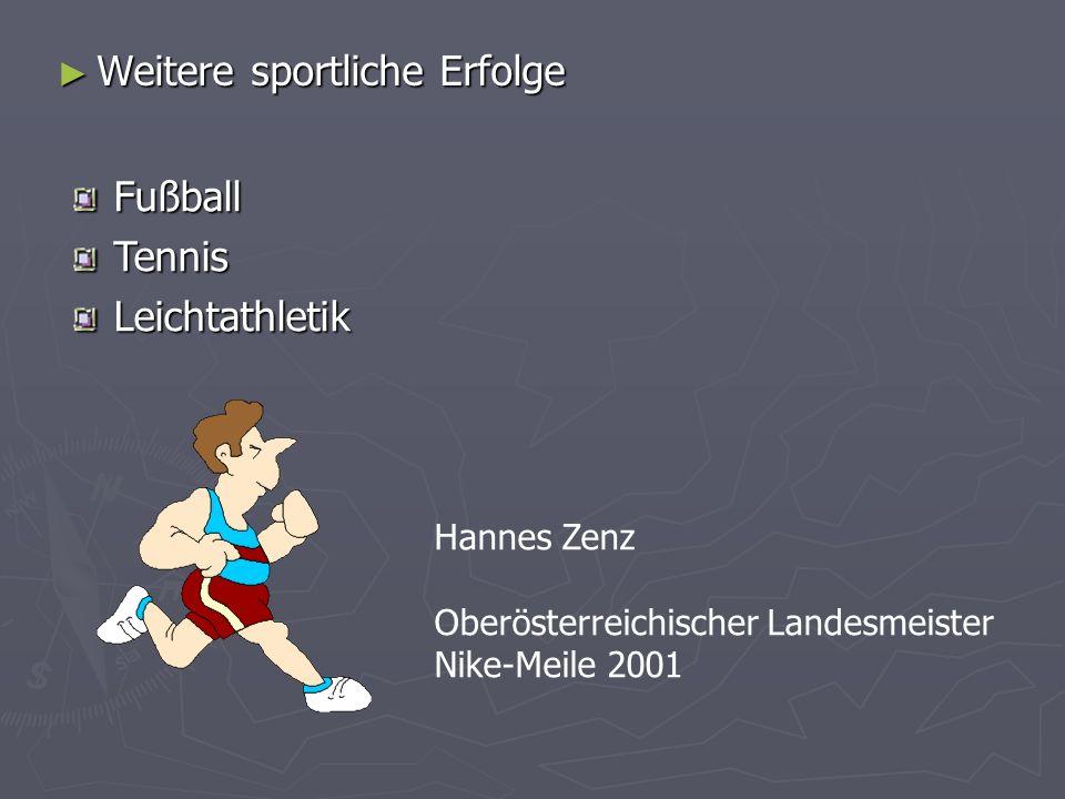 Weitere sportliche Erfolge Weitere sportliche Erfolge Hannes Zenz Oberösterreichischer Landesmeister Nike-Meile 2001 FußballTennisLeichtathletik