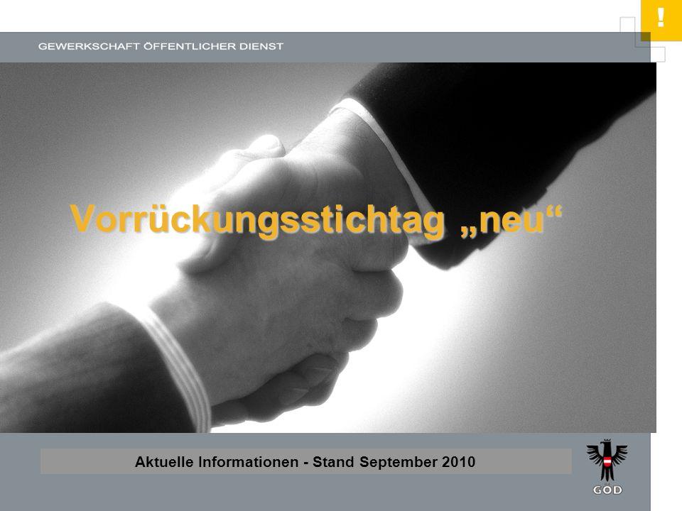 ! HIER STEHT DER TITEL Unterzeile oder Autorenzeile Aktuelle Informationen - Stand September 2010 Vorrückungsstichtag neu
